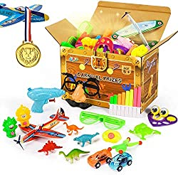 【22 Designs,120 Pcs】Carnival prizes include disguise mask,dinosaur toys,glide plane toys,face changing dolls,cartoon stickers and so on,total 22 kinds of assortment toys multiple pcs,variety of combinations to play,inspire children creativity and bri...