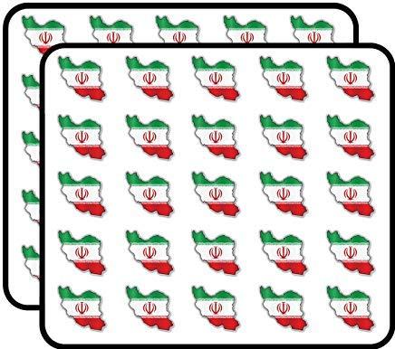 Iran Kaart Vlag Vinyl Stickers Grappige Leuke voor Kinderen DIY Crafts, Scrapbooking, Laptop, Bumper Auto Stickers, Stickers voor Kinderen, 50 Pack