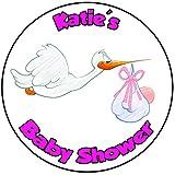 Decoración para tarta de baby shower, redondo, círculo de 20 cm, diseño de bebé niña (cigüeña)