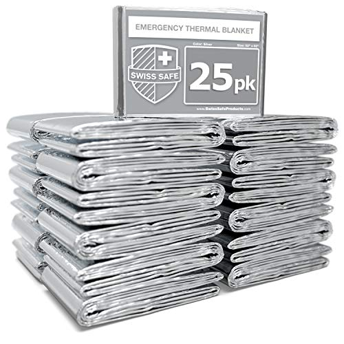 Swiss Safe Emergency Mylar Thermal Blankets (Bulk 25-Pack) - Designed for NASA, Outdoors, Hiking, Survival, Marathons or First Aid (Silver 25-Pack)
