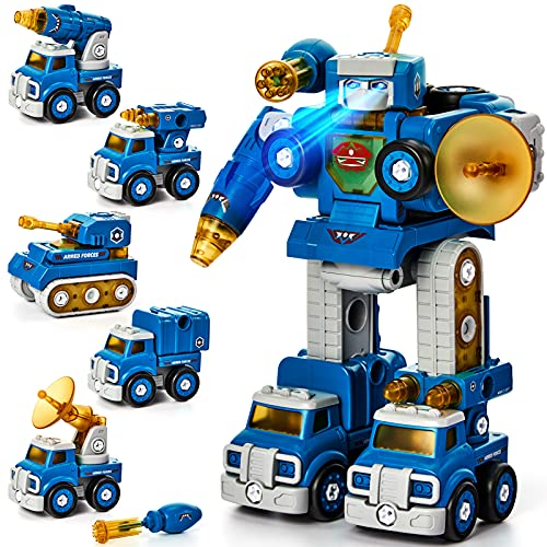 Take Apart Robot Toys Vehicle Set 5 in 1 Construction Toys for 5 Year Old Boys STEM Toys Vehicles Transform into Robot for Kids Toys for 6 7 Year Old Boys Kids Building Toys Ages 5+