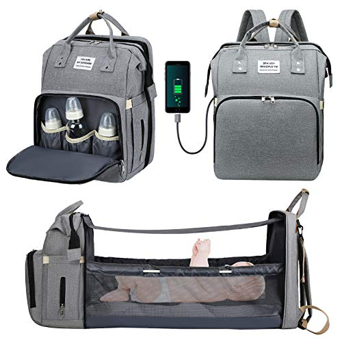 Diaper Bag Backpack,CHARMINER 5 In 1 Baby Nappy Changing Station,Multifunction Travel Back Pack with USB Charging Port,Waterproof,Large Capacity,Unsex Stylish Foldable Baby Bag for Dad Mom