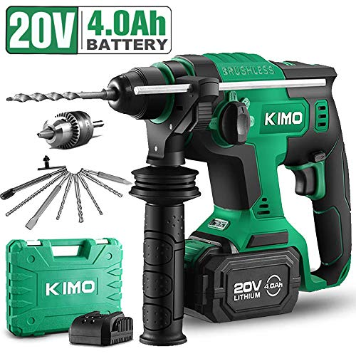 20V 1 Inch SDS Plus Rotary Hammer Drill, Brushless Cordless Demolition Hammer Kit w/ 4.0Ah Battery&Charger, 3 Functions, Variable-Speed, Adjustable Handle, Drill Bits, Point/Flat/U-Groove Chisels