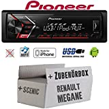 Autoradio Radio Pioneer MVH-S100UI - | MP3 | USB | Android | iPhone Einbauzubehör - Einbauset für Renault Megane & Scenic 2 - JUST SOUND best choice for caraudio
