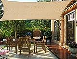 HENG FENG Toldo Vela de Sombra Rectangular 3.5 x 5 m Protección Rayos UV Solar Protección HDPE Transpirable Aislamiento de Calor para Dar Sombra a su Jardín Color Arena