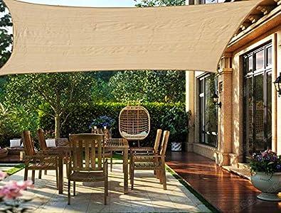 HENG FENG Toldo Vela de Sombra Rectangular 2 x 3 m Protección Rayos UV Solar Protección HDPE Transpirable Aislamiento de Calor para Dar Sombra a su Jardín Color Arena