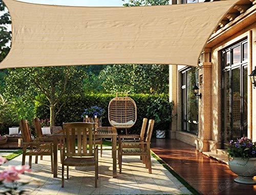 HENG FENG Toldo Vela de Sombra Rectangular 4 x 6 m Protección Rayos UV Solar Protección HDPE Transpirable Aislamiento de Calor para Dar Sombra a su Jardín Color Arena
