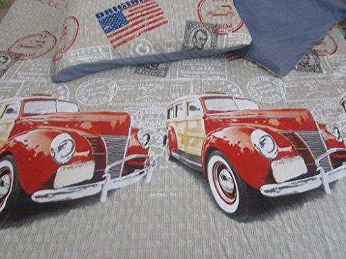 Pago Poco Bettbezug für französisches Bett, aus weichem Mikrofaser, Motiv: American, Maße: 205 x 205 x 40 cm, 1 Kissenbezug 52 x 82 cm.