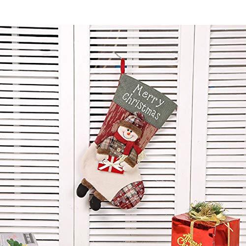 LLKK Christmas Hanging Socks,Christmas Decoration Socks,Large Christmas Socks,Creative Santa Snowman Elk Christmas Decoration Pendant (2 Pack)
