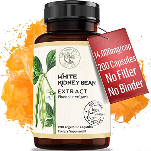 Carb Blocker - 200 Capsules X 700 MG of 100% Pure White Kidney Bean Extract - 20:1 Extract - for Men & Women