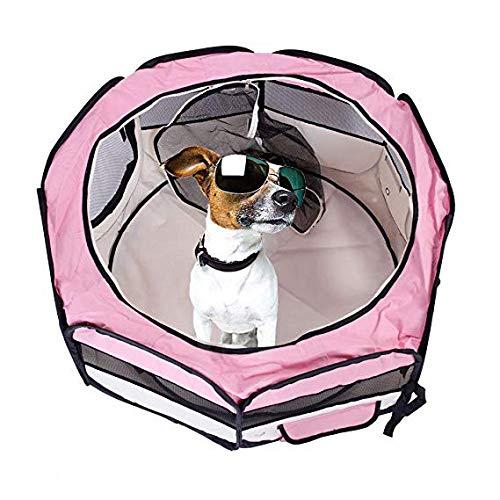 WTTTTW Tragbare Faltbare Haustier Laufstall, Haustier Delivery Room.Breathable Anti Mosquito, Tragetasche Faltbare Travel Bowl Erhältlich in 2 Größen Rosa Farbe,M