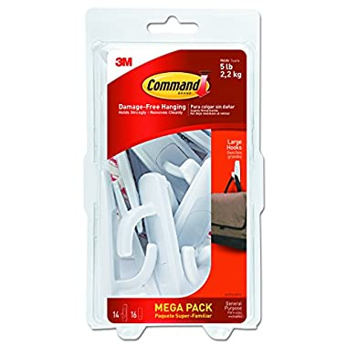 Command Large Utility Hook Mega Pack, White, 14-Hooks, 16-Strips (17003-MPES)