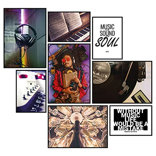 GREAT ART® Conjunto de carteles de humor de música   8 elegante decoración moderna del arte para la pared   4X Din A2 y 4X Din A3   Piano Guitarra Micrófono Jazz Soul   sin marco