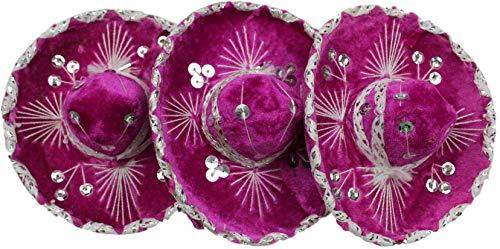Trade MX Mini-Mariachi Sombrero Charro-Hut, mexikanisch, 15,2 cm, erhältlich, 3 Stück One Size Pink/Silber