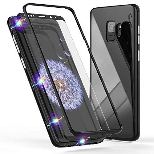 Alsoar Schutzhülle für Galaxy S9 Plus, magnetisch, Hartglas, Vorder- und Rückseite, Farbe ultradünn, stoßfest, mit 360°-Schutz, Schutzhülle