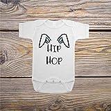 Baby Strampler Ostern Baby Outfit Hip Hop Baby Outfit mit Hasenohren Einteiler Overall Baumwolle Bodysuit Weiche Onesies mit Knopf für Kleinkind Säugling Neugeborene Junge & Mädchen Krabbeln