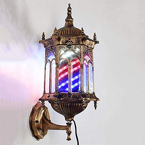 Mutmi Contribution of Post by Hairdresser Barber with Bright Lamps - Vintage Barber Pole Sign Waterproof Red White Blue Stripes Spinning Hair Salon Sign Light Pear Lamps LED,At the