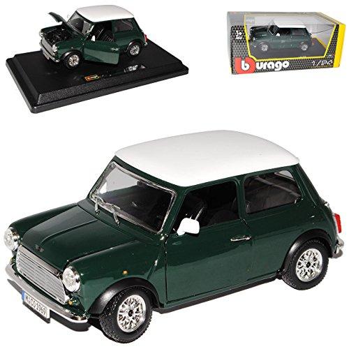 Bburago Mini Cooper altes Ur Modell Grün mit weißem Dach 1959-2000 18-22011 1/24 Modell Auto
