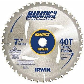 IRWIN Tools MARATHON Carbide Corded Circular Saw Blade, 7 1/4-inch, 40T (14031)