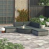 Juego de 6 muebles de jardín de lujo para interiores y exteriores (color: gris)