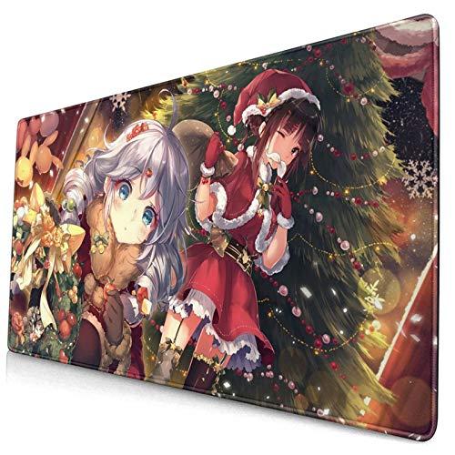 Large Gaming Mouse Pad Manga Christmas Sexy Japanese Girl Hot Cute Anime Cool Anti Slip Mouse Mat Anti Slide Bottom Desk Mat Living-Room Desk Pad(29.5'X15.8'X0.12')