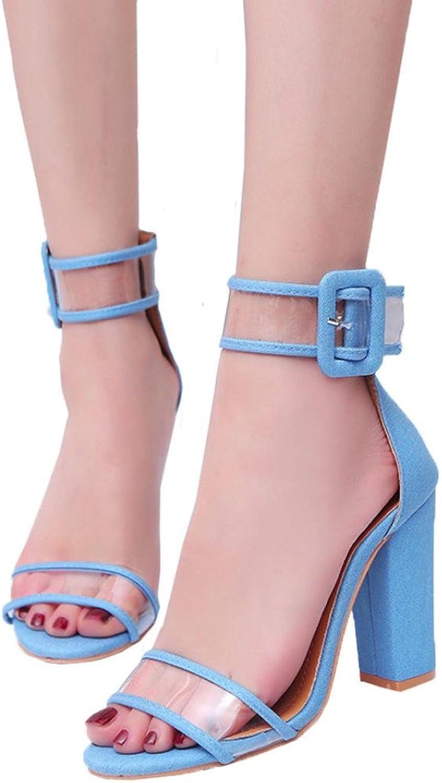Fheaven Women's Dress Sandals Ladies Block High Heel Sandals Ankle Platforms shoes Transparent Strap Buckle High Heels