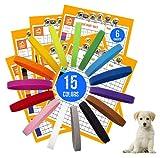 GAMUDA 15 Newborn Puppy Collars – Super Soft Nylon Whelping Puppy Collars - Adjustable Litter Collars for Pups – Assorted Colors & Identification Collars (15 Pcs - 6 Card)
