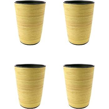 BIOZOYG Vajilla Eco Friendly de bamb/ú para ni/ños I 4 Tazas de melamina vajilla de Fiesta Taza de caf/é Reutilizable Apta para lavavajillas sin BPA Taza Natural I Blanco//Verde 300 ml