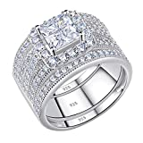 Newshe Engagement Rings for Women Wedding Ring Sets Princess Sterling Silver Cz 2Ct Cross Size 8