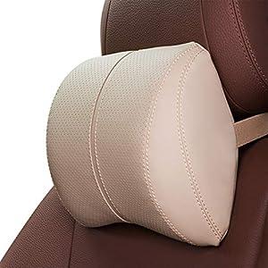 Ergocar Almohada de Lumbar & Almohada de Cuello Cuero de PU Cojin Lumbar Coche Cojín de Asiento para Casa Oficina Coche…