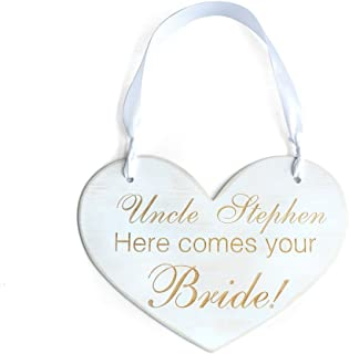 Uncle Here Comes Our Girl! Personalized Wedding Signs, Wooden Wedding Sign Here Comes the Bride Sign , Flower Girl, Ceremony, Reception