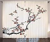 ABAKUHAUS Naturaleza Cortinas, Estilo Pájaros del Arte, Sala de Estar Dormitorio Cortinas Ventana Set de Dos Paños, 280 x 245 cm, Negro Borgoña