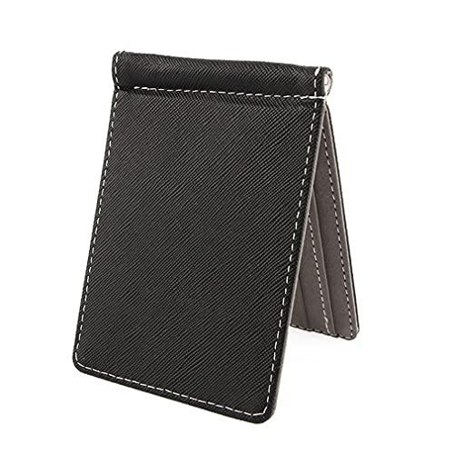 SeniorMar-UK Leichte Herren Geldbörse Kurz Geldbörsen Geldbörsen PU Leder Geldscheinklammern Solide dünne Geldbörse für Herren Geldbörsen RFID Geldbörse schwarz-grau 110x80x7mm