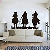 ASFGA Cool Prairie Landscape Boy Wall Sticker Art Western Style Shepherd Wall Decal Riding Man Vinyl Wallpaper Interior Art Riding Club 42x67cm