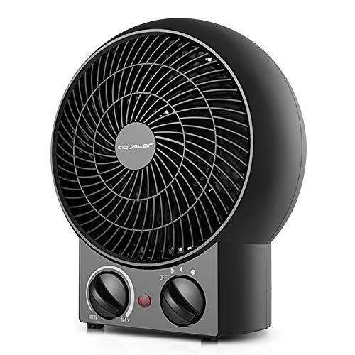 Aigostar Airwin Black 33IEL - TermoVentilatore con Termostato Regolabile, Funzione Doppia Aria Calda e Fredda, 2000 Watt con protenzione anti-surriscaldamento. Design esclusivo.