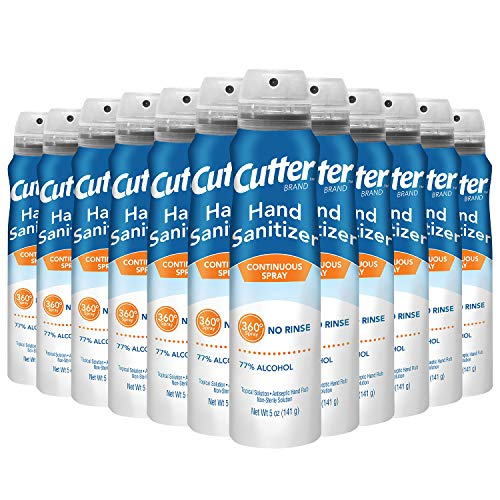 Cutter HG-96963 Hand Sanitizer, Continuous Spray, 5-oz, Pack of 12