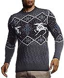 Leif Nelson Pull norvégien en tricot pour homme - Pull d'hiver avec col rond - Pour Noël et hiver - Motif norvégien - LN20761 - Gris - Large
