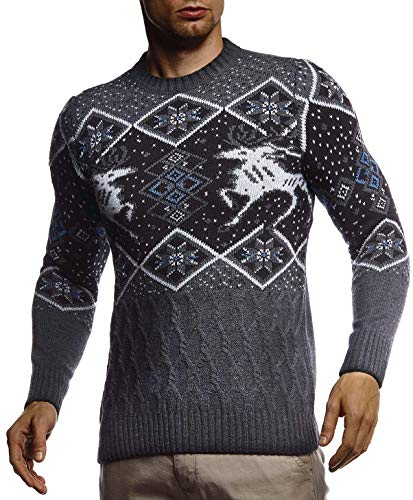 LEIF NELSON Men's Stylish Sweater Longsleeve Pullover Sweatshirt Hoodie For Men Slim Fit LN-20761; Size S, Anthracite