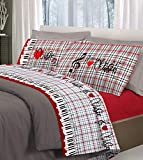HomeLife Set Lenzuola Letto Matrimoniale Cotone Fantasie Musicali Made in Italy | Completo 2 Piazze +...