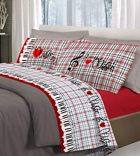 HomeLife Set Lenzuola Letto Matrimoniale Cotone Fantasie Musicali Made in Italy | Completo Parure 2 Piazze + Federe Stampa Note | Lenzuolo sopra 250x300 + Federe 52x82 - Rosso, 2 Parure