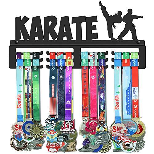WEBIN Karate Medaillen Aufhänger Halter Display Rack,Schwarz Super Hart Stahl Metall,Wandmontage Über 50 Medaillen