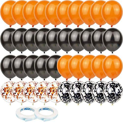 Q-WOOF Globos de látex, 60 globos de látex de champán, globos negros, globos de confeti, utilizados para aniversario de bodas, graduación, regalo nupcial, decoración de fiestas, baby shower (negro)