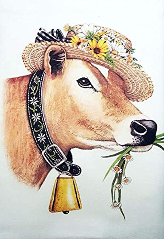 Mary Lake Thompson Spring Daisy Cow 100 Cotton Flour Sack Dish Tea Towel 30 X 30