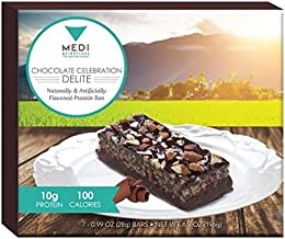 Medi-Weightloss Chocolate Celebration Delite Protein Bars 100 Calories, High Protein (10g) - for Hunger Control During Diet/Weight Loss - 7 Bars Per Box