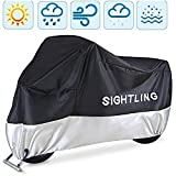 Motorcycle Cover, SIGHTLING All Season 210D Waterproof Motorbike Covers with Lock Holes, Fits up to 96.5' Motors, for Honda, Yamaha, Suzuki, Harley,96.5 x 41x 50 inch