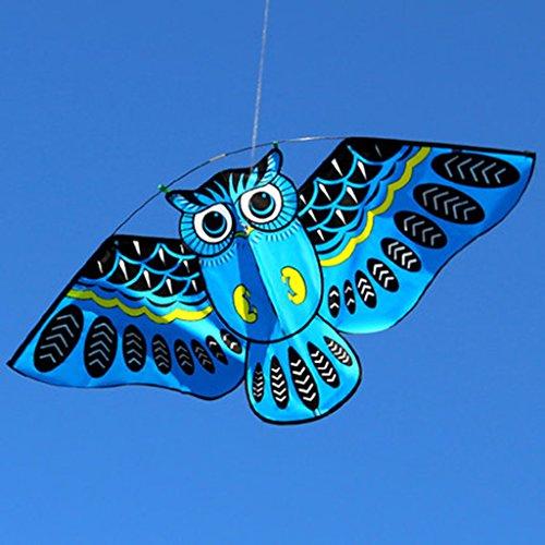 LANDUM Cometa para niños, Dibujos Animados búho Volando Cometas para niños Adultos diversión al Aire Libre Juguete Deportivo - Azul