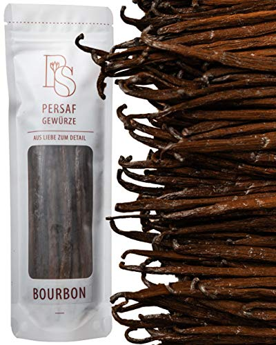 5 Bourbon Vanilleschoten aus Madagaskar von PerSaf (mind. 18 g) I in Gourmet-Qualität I Länge 15 - 18 cm I Die Vanille der Gourmetköche I 100% natürlich veredelt & fair gehandelt