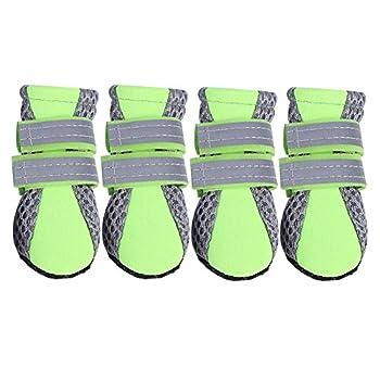 Fdit Chaussures Chien Pet Chaussures Maille Antidérapant Respirant Semelle De Protection protège-Pattes Doux Bottes pour Chiot Chien(Vert L)