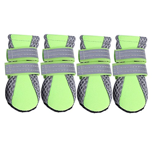 Fdit Zapatos para Mascotas Zapatos de Malla Zapatos de Mascotas Antideslizante Protectora Botas Suaves para Cachorros(Verde M)