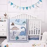 La Premura Dinosaur Baby Nursery Crib Bedding Set – Dinosaur 3 Piece Standard Size Crib Set, Grey/Blue - Unisex Nursey Bedding and Neutral Decor